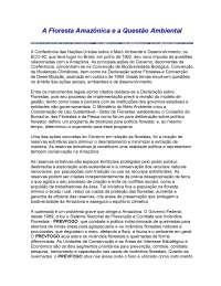 A Floresta Amazônica e a Questão Ambiental, Notas de estudo de Cultura
