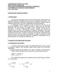 Tratamento de águas de abastecimento coagulação e mistura rápida, Notas de estudo de Engenharia Sanitária