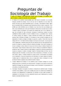 Preguntas de sociología del trabajo