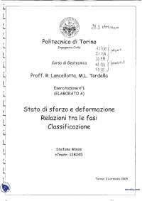Stato di sforzo e deformazione, relazione tra fasi e classificazione