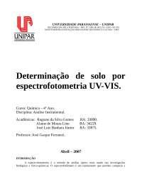 Determinação de solo por espectrofotometria UV-VIS, Notas de estudo de Química