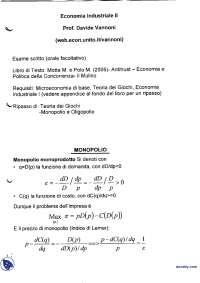 Appunti di Economia industriale avanzata - Oligopolio e monopolio - 3