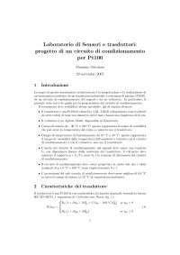 Sensori e trasduttori -  Esercitazione di laboratorio