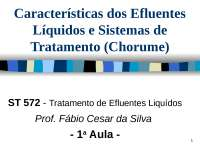 Características dos Efluentes Líquidos e Sistemas de Tratamento, Notas de estudo de Engenharia Química