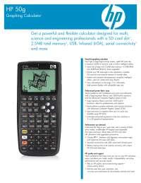 Todos os dados Técnicos da Calculadora HP50g, Notas de estudo de Engenharia Química