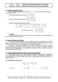Aula 6 - Reatores Série e/ou Paralelo, Notas de aula de Engenharia Química