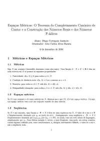 Espaços Métricos: o teorema do completamento canônico de Cantor e a construção dos numeros reais e dos números p-ádicos, Notas de estudo de Matemática