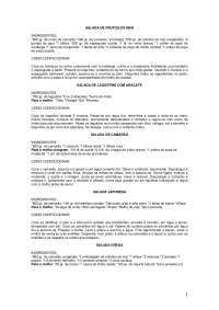 Receitas de Saladas, Notas de estudo de Gastronomia
