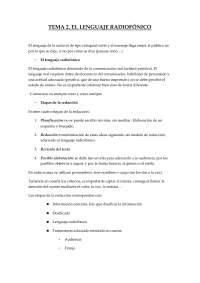 Tema 2. El lenguaje radiofónico