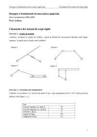 Esercizi risolti - Disegno e fondamenti di Meccanica applicata - Cinematica dei sistemi di corpi rigidi e del punto - Prof