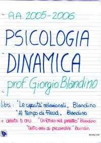 Psicologia dinamica - Appunti - Parte 1
