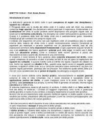 Appunti diritto Civile - Prof. Ennio Russo