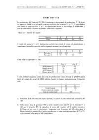 Economia e organizzazione aziendale - Esercizi di Contabilità analitica risolti - Parte 1