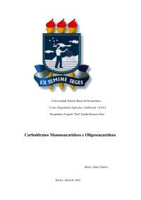 monossacarídeos e oligossacarideos, Notas de estudo de Engenharia Agrícola