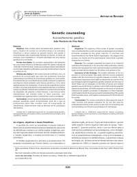 Aconselhamento genético, Manuais, Projetos, Pesquisas de Psicologia