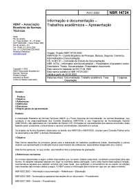 NBR14724 - Apresentação, Notas de estudo de Marketing