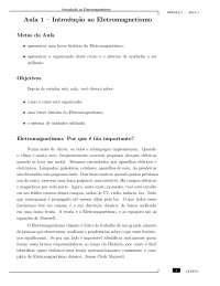 Aula 1 - CEDERJ - Eletromagnetismo e Ótica, Notas de aula de Física