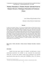MODELOS MATEMÁTICOS E MODELOS MENTAIS: inferindo possíveis relações durante a modelagem matemática de fenômenos físicos, Notas de estudo de Física