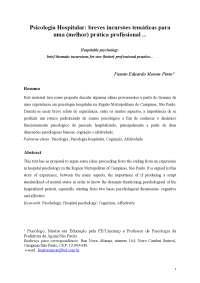 Psicologia Hospitalar: breves incursões temáticas parauma (melhor) prática profissional, Manuais, Projetos, Pesquisas de Psicologia