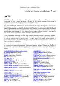 Aves brasileiras, Manuais, Projetos, Pesquisas de Engenharia Florestal