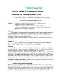 Programa Avaliação DE PIPSIR, Notas de estudo de Psicologia