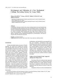 colheita mecanizada Repolho, Notas de estudo de Engenharia Agrícola