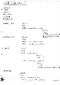 [VM] Basi di dati - Alcune semplici regole di SQL