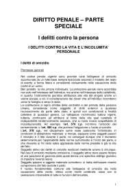 Riassunto di diritto penale sui Delitti contro la persona (consigliato: Findaca musco)
