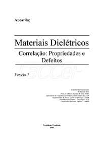 Apostila Materiais Dielétricos Parte A, Notas de estudo de Tecnologia Industrial