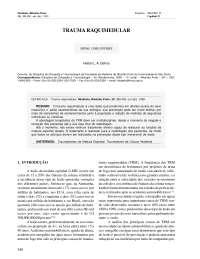 Trauma raquimedular, Notas de estudo de Enfermagem