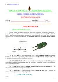 Introdução à Eletrônica - elt 6 diodos especiais, Notas de estudo de Física