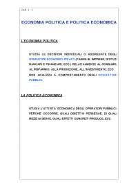 Economia politica e Politica economica