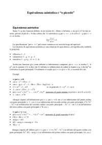 """Analisi Matematica - Equivalenza asintotica e """"o piccolo"""""""
