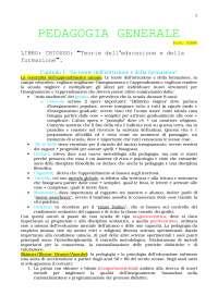 PEDAGOGIA GENERALE - Riassunto esame Prof. Sirna [LIBRO CONSIGLIATO: CHIOSSO, Teorie dell'educazione e della formazione]