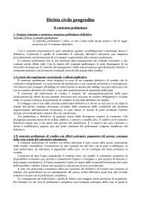Diritto civile progredito - Il contratto preliminare