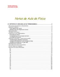 021-entropia, e a segunda lei da termodinamica, Notas de estudo de Engenharia Aeronáutica