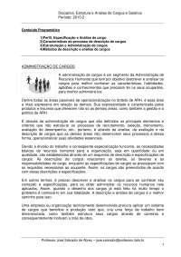 Estrutura e Análise de Cargos e Salários, Notas de aula de Administração Empresarial