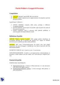 Appunti di Partiti Politici e Gruppi di Pressione (parte I)