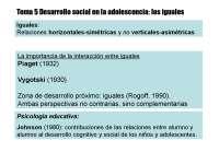 Tema 5, Psicología de la Adolescencia
