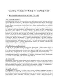 Relazioni internazionali - Teorie e Metodi delle Relazioni Internazionali