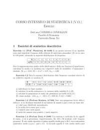 CORSO INTENSIVO DI STATISTICA I (V.O.) Esercizi - UniRomaTre
