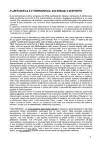 Diritto Regionale - STATO FEDERALE E STATO REGIONALE: DUE MODELLI A CONFRONTO