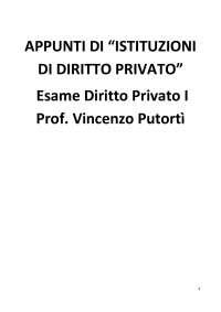 Appunti di Istituzioni di Diritto Privato esame Diritto Privato I