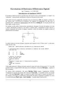 Esercitazione di Elettronica II/Elettronica Digitale - Ing. F. Iannuzzo - A.A. 2001/2002 - Introduzione al simulatore SPICE - Uni Cassino