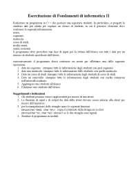 Esercitazione di Fondamenti di informatica II - Prof. Fontanella - Uni Cassino