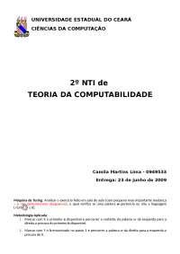 Materia Disciplina Teoria da Computabilidade uece - resolução, Notas de estudo de Informática