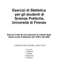 Statistica - Esercizi Svolti - UniFirenze