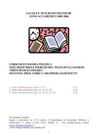 SOLUZIONE DEGLI ESERCIZI DEL TESTO DI N.G.MANKIW, Esercizi di Economia Politica