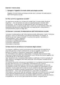 Esercizi di Psicologia Sociale - Macro-area