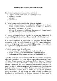 Economia aziendale - I criteri di classificazione aziendale